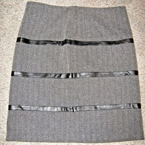 TRIBAL Black White Herringbone Faux Leather Skirt